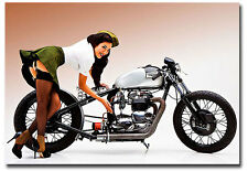 "Motorcycle Pin up with Triumph Fridge Toolbox Magnet Size 3.5"" x 2.5"""