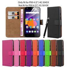 Alcatel Pixi 4 (5'') 4G 5045X Flip Leather Wallet Book Case Cover Screen Guard