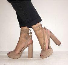 ALDO Nude Suede Peep Tor Platform Ankle Tie Block Heels Size 5 / 38