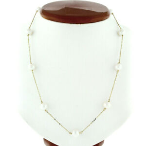 """14k Yellow Gold 8-8.5mm White Bead Pearl by the Yard 18"""" Cable Chain Necklace"""