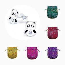 Girls Childrens 925 Sterling Silver Panda Stud Earrings - Pouch