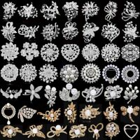 Wedding Bridal DIY Bouquet Silver/Gold Pearl Crystal Brooch Pin Womens Jewellery