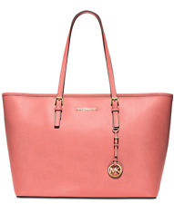 Michael Kors Jet Set Travel Medium Zip Multifunction Tote Pink Grapefruit NWT
