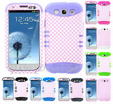 KoolKase Hybrid Silicone Cover Case for Samsung Galaxy S3 - Plaid Pink/White