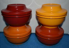 Vtg Set 1436 Tupperware 4 Bowls w Lids Harvest Fall Colors Rice Fruit Ice Cream