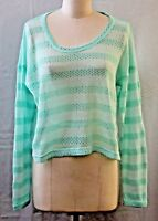 Aeropostale Live Love Dream Pullover Cropped Sweater Green Stripe Size XL