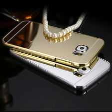 Luxury Aluminum Metal Bumper Mirror Back Case Cover for Samsung Galaxy Phones