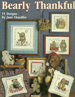 Thankful Teddy Bears Counted Cross Stitch Pattern Leaflet Religious quotes