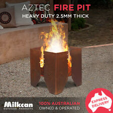 NEW Aztec RUST FIRE PIT THICK 2.5mm STEEL Outdoor Open Fireplace - Camping Box