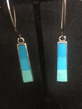 sterling silver PB Peyote Bird ombré three color turquoise dangle earrings EUC