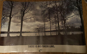 "Vintage Nike Running ""There Is No Finish Line"" Poster Print Ad 1970s"