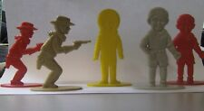 1930 - 1940s plastic play pieces boys cowboys astronaut spaceman thin on stand