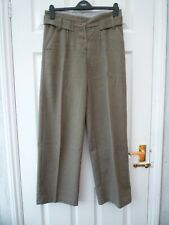 TOPSHOP Ladies Size 10 31L Brown Military Pleated Straight Wool Blend Trousers