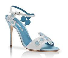 Nuevo Manolo Blahnik Kakanga Cuero Sandalias Azul Blanco Zapatos 36 37 38.5 41