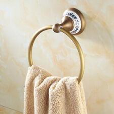 Antique Brass Ceramic Wall Mounted Bathroom Circle Towel Ring Holder eba413