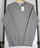 NWT PETER MILLAR Small Cashmere Crown Comfort Crew Neck Lined Gray Sweater New