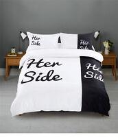 Black and White  Duvet Cover Pillowcases Bedding Set King Queen