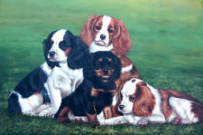 """Hand Painted 4 Dogs Oil Painting Collectible Wall Decor Art Size 36""""x24"""" New"""