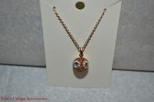 Fossil BRAND Rose Gold Crystal Glitz Owl Party Animal Pendant Necklace Jof0003