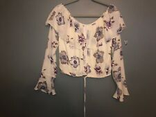 New South Moon Under J.O.A. Floral Crop Off The Shoulder Boho Top Size M