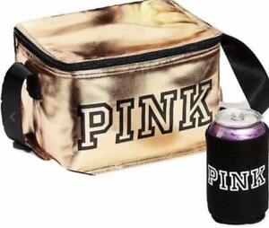 Victoria's Secret Pink Zip-up Cooler Lunch Box Bag Rose Gold with Black Koozie