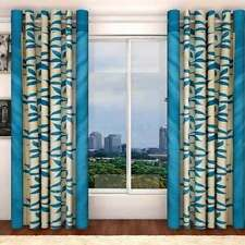 SA Premium Firozi Blue Leaves 7Ft Door Curtains-Set of 2