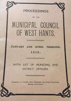 1912 Proceedings Of The Municipal Council West Hants District Paper Booklet E83