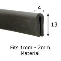 Medium BLACK Rubber U Channel Edging Trim  Seal 1mm - 2mm from The Metal House