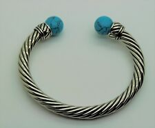 Fashion Bracelet Silver Turquoise color boll Cuff Rope Filigree Design style