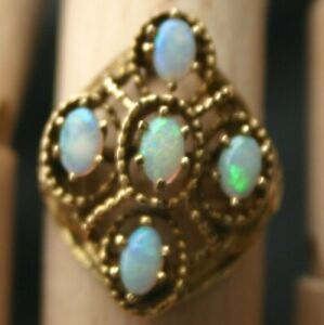 Vintage 14K Oval Opals Floating Filigree Setting Ring