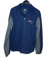 NFL Patriots Mens Medium Navy & Gray Zip Up Jacket Fleece Lined W/ Pockets Logo