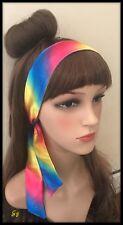 Silky Rainbow Multicoloured Headband Bandana Hairband Bow Tie Hair Scarf Hippy
