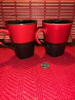 222 FIFTH Coffee Mugs Genuine Stoneware Red Black Contemporary Hot Soup SET OF 2