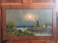Antique Oil Painting on Board Windmill Landscape Framed Signed