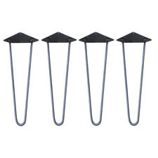 """Antique Iron Hairpin Table Legs Set of 4 Industrial Chic 2 or 3 Prong 12 to 28"""" 2 Prong Leg (350mm)"""