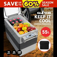 Glacio 55L Portable Fridge Freezer Cooler Refrigerator Camping Caravan Boat Grey