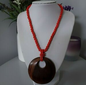 Retro Ethnic Red Seed Beaded Brown Round Pendant Costume Bohemian Necklace