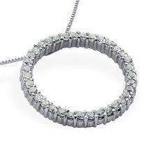 14K White Gold 0.57ct Carat Circle Diamond Pendant Jewelry E Color VS1 Clarity