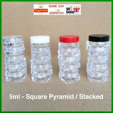 SQUARE 5ml ASYMMETRIC SCREW TOP JAR STACKING POT CONTAINER CRAFT GLITTER NAILS