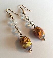 Pierced earrings, each w crystal beads & a foil glass bead on silver gilt wires