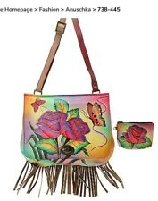 anuschka hand painted leather Handbag Rose With Fringe And Matching Coin Purse