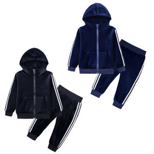Children Kids Girls Boy Clothes Outfits Hoodie Velvet Tops Pants Tracksuit Set