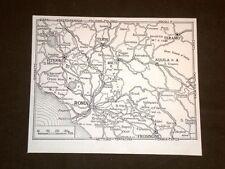 Carta o Cartina del Lazio Roma, Viterbo, Rieti, Aquila + Soriano nel Cimino
