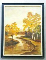 Vintage Oil on Canvas Landscape River Painting Mid-Century Impressionist Artwork