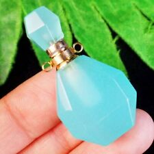 M22894 Blue Jade Charm Essential Oil Diffuser Bottle Pendant Bead
