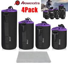 4Pcs Soft Camera Lens Pouch Waterproof Protective Case Neoprene Lens Pouch Bag