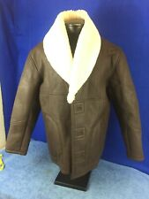 B-3 Handmade Aviator Shearling Brown Leather Bomber Jacket VERY NICE HEAVY