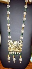 VINTAGE ART DECO GOLD & GLASS BEAD NECKLACE, CZECH STYLE 20""