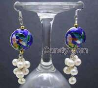 SALE 6-7mm Round White Natural Pearl & 18mm Blue Cloisonne Dangle earring-ear515