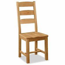 Oak Dining Chair Slatted Ladder Back Wood Seat Zelah Solid Wood Furniture